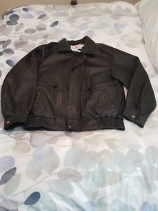 Men's Genuine Black Leather Jacket size 40.