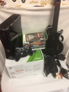 Xbox 360 Bundle with Guitar Hero Controller and 9 Games