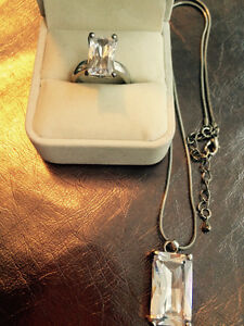 Emerald cut ring & chain with matching pendant