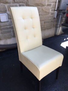 Beautiful White Leather Dining Chair Set of 5