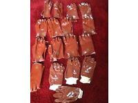 Seventeen pairs of work gloves 9.5