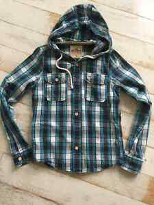 Hollister Navy/light blue plaid shirt with hood Kitchener / Waterloo Kitchener Area image 1