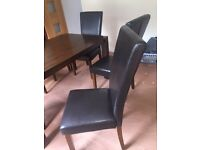 Set 6 modern dining chairs, brown