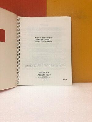 Wavetek Signal Generator Model 2500 Operating Manual