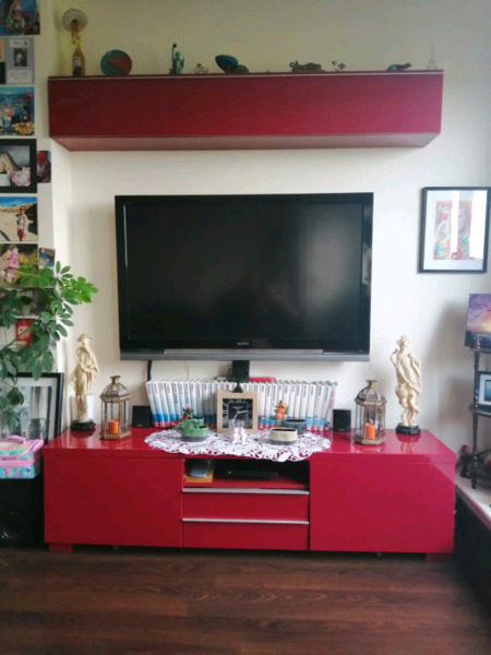 TV stand plus overhead cabinet for sale