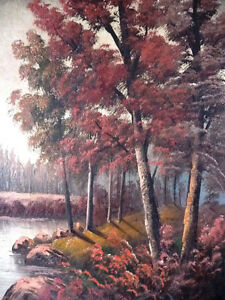 New England Fantasy Oil Painting by Joseph Collazzi 1930's Stratford Kitchener Area image 5