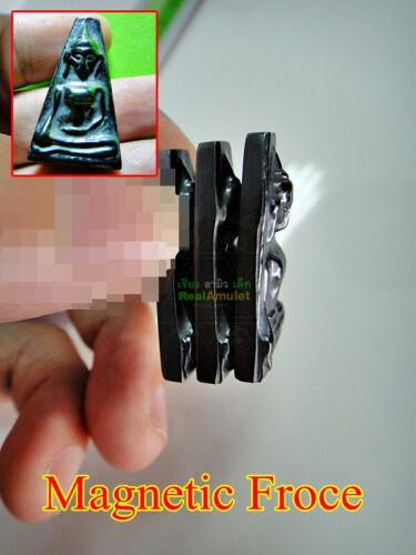 Sacred Buddha Glossy Black Leklai Magnetic Charm Amulet Lp Huan PongSuPan #0044