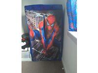 Spider-Man fabric wardrobe, 2 single duvets & pillow case, curtains & light shade
