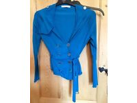 Fab Karen Millen blue cardigan with silver buttons size 3