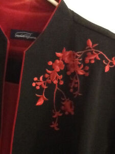 Black 3-piece Suit Red Embroidery - Penningtons Size 16