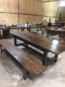 Handcrafted barn board tables