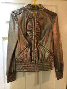 WOMEN'S MISS SIXTY FAUX-LEATHER BOMBER JACKET, LIGHT GOLD, SZ M