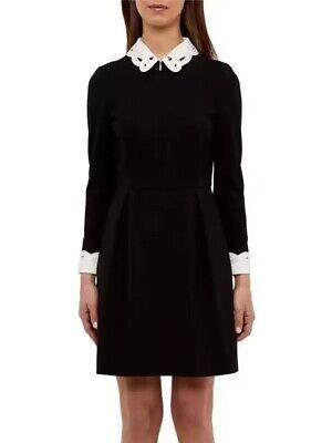 AUTH Ted Baker SHEALAH Long sleeved Collared dress Black 0-5