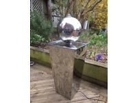 Stainless steel sphere water feature with lights