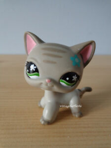 Littlest Pet Shop LPS Grey Cat #483 Striped Teal Flower