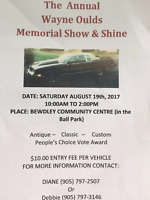 The Wayne Oulds Memorial  Show  & Shine