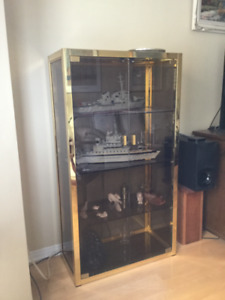 SOLID BRASS GLASS DISPLAY CABINET