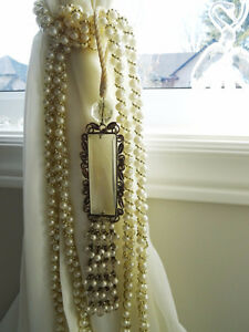 CRYSTAL PRISMS rhinestones FAUX PEARLS beaded Metal TASSEL TIEBA
