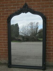 GOTHIC BLACK 6FT X 4FT ORNATE LARGE FRENCH ROCOCO LEANER DRESS WOOD WALL MIRROR