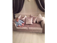 3 and 2 velvet crushed sofa ready for a SWAP