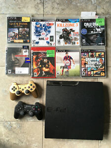 320GB PS3 slim - two controllers and games