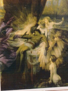 LAMENT FOR ICARUS Herbert Draper PRINT FRAMED nymphs MYTHICAL Cambridge Kitchener Area image 7