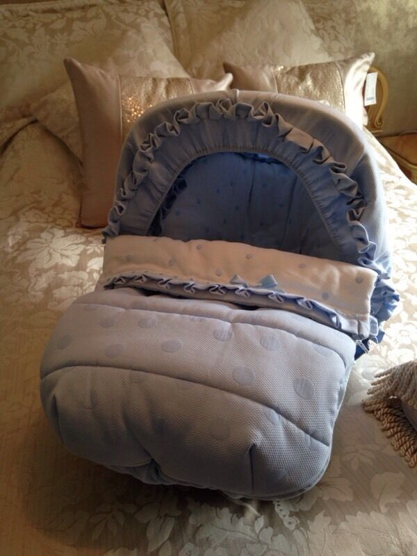Spanish Boys Car Seat Cover Baby Blue And White Frilly Hood Footmuff Rrp 180