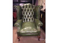 Green Leather Chesterfield Wing Chair - CAN DELIVER