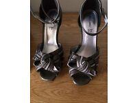 Womens high grey platform shoes size 4