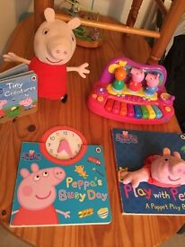 Peppa pig books piano talking soft toy bundle