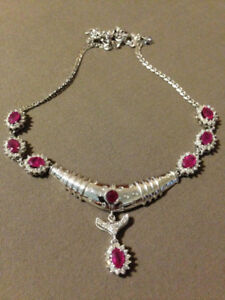 Diamond and Ruby Necklace and earrings valued ($7900)