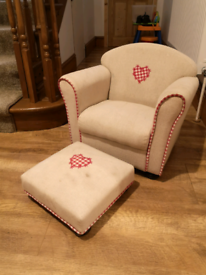 Kids armchair and foot stool