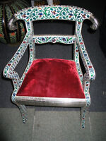 BRAND NEW SOLID WOOD CHAIR WITH METAL INLAY.