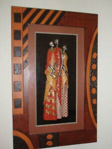 FIRST $60 TAKES IT/ Tribal African Women/ 3-D Wood Shadow Box ~*