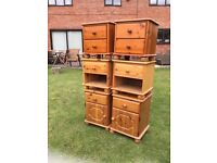 3 PAIRS OF PINE BEDSIDE CUPBOARDS