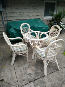 """48"""" Tempered Glass top Rattan Table with 4 padded Arm Chairs"""