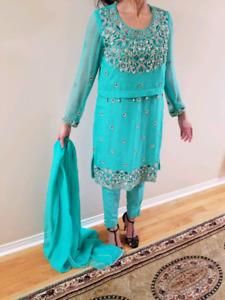 Pakistani Indian shalwar kameez wedding party formal clothes