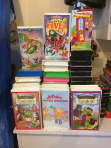 Childrens VHS and casette tapes.
