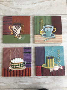 "Ceramic Wall Plaque Picture 7"" x 7"" $4 each,  7.5 x 8.5"" $5 each"