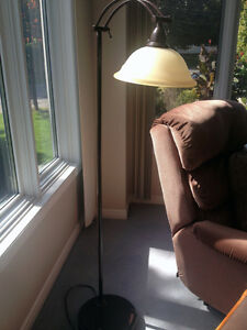 Heavy Antique Floor Lamp with Glass Shade