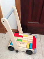 'Plan Toys' Baby Wooden block cart