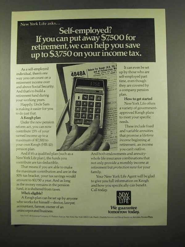 1975 New York Life Insurance Ad - Self-Employed?