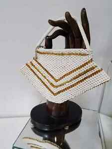 ART DECO beaded HANDBAG Czechoslovakia CHEVRON PATTERN 1920s-40s