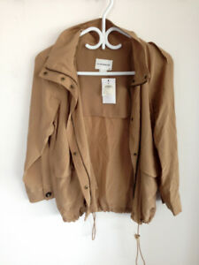 Club Monaco Silk Trench Short Coat Parka Camel XS $290 Retail