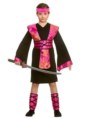 Samurai Kids Kostüme (Samurai Girls Fancy Dress National Japanese Ninja Assassin Kids Childs Costume)
