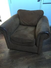 Brown suede leather chair armchair