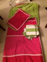 Pink and white twin comforter set