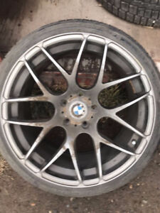 BMW 3series Staggered gun metal wheels with tires