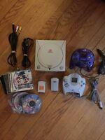 Sega Dreamcast with games and accessories.