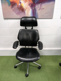 Humanscale Freedom Chair - Black leather - aluminium frame 1600rrp